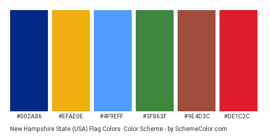 New Hampshire State (USA) Flag Colors - Color scheme palette thumbnail - #002a86 #efae0e #4f9eff #3f863f #9e4d3c #de1c2c