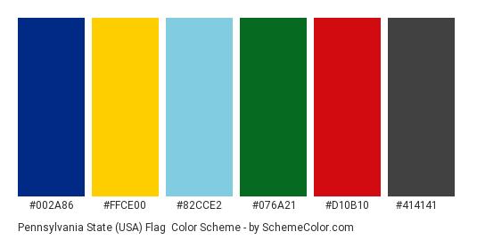 Pennsylvania State Usa Flag Color Scheme Palette Thumbnail 002a86 Ffce00