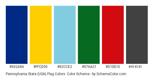 Pennsylvania State (USA) Flag Colors - Color scheme palette thumbnail - #002a86 #ffce00 #82cce2 #076a21 #d10b10 #414141