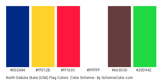 North Dakota State (USA) Flag Colors - Color scheme palette thumbnail - #002a86 #ffd12b #ff163c #ffffff #663d3d #20d942