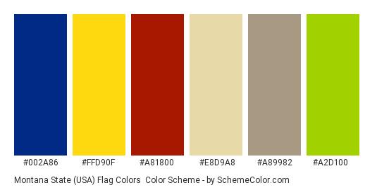Montana State (USA) Flag Colors - Color scheme palette thumbnail - #002a86 #ffd90f #a81800 #e8d9a8 #a89982 #a2d100