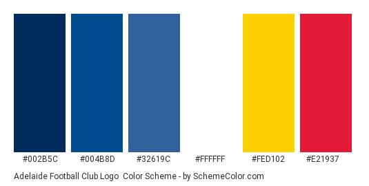 Adelaide Football Club Logo - Color scheme palette thumbnail - #002b5c #004b8d #32619c #ffffff #fed102 #e21937