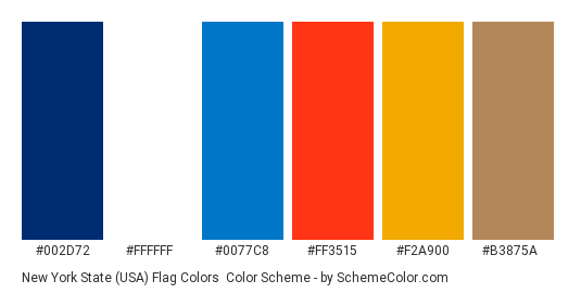 New York State (USA) Flag Colors - Color scheme palette thumbnail - #002d72 #ffffff #0077c8 #ff3515 #f2a900 #b3875a