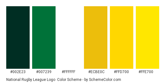 National Rugby League Logo - Color scheme palette thumbnail - #002e23 #007239 #ffffff #ecbe0c #ffd700 #ffe700