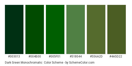Dark Green Monochromatic - Color scheme palette thumbnail - #003013 #004b00 #005f01 #518044 #556a2d #4a5d22
