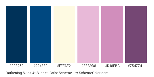 Darkening Skies at Sunset - Color scheme palette thumbnail - #003259 #004880 #fefae2 #e8b9d8 #d18ebc #754774