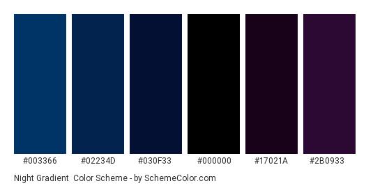 Night Gradient - Color scheme palette thumbnail - #003366 #02234D #030F33 #000000 #17021A #2B0933