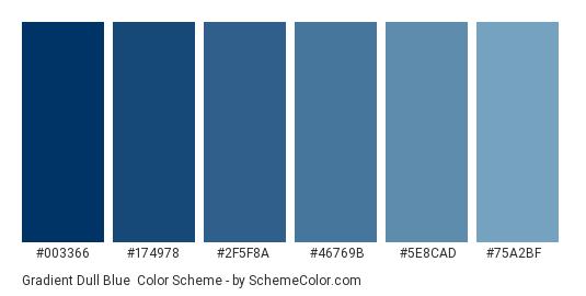 Gradient Dull Blue - Color scheme palette thumbnail - #003366 #174978 #2F5F8A #46769B #5E8CAD #75A2BF