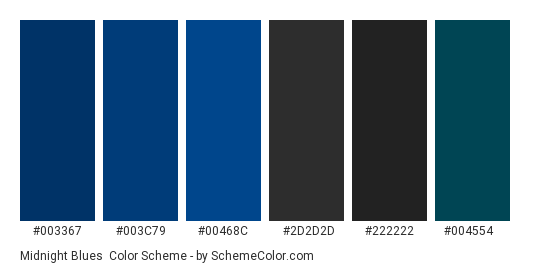 Midnight Blues - Color scheme palette thumbnail - #003367 #003c79 #00468c #2d2d2d #222222 #004554