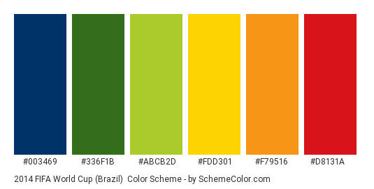 2014 FIFA World Cup (Brazil) - Color scheme palette thumbnail - #003469 #336f1b #abcb2d #fdd301 #f79516 #d8131a