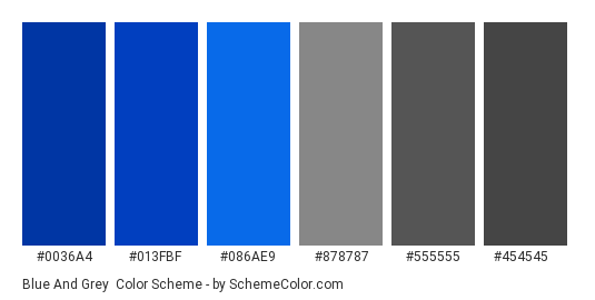 Blue and Grey - Color scheme palette thumbnail - #0036a4 #013fbf #086ae9 #878787 #555555 #454545