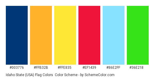 Idaho State (USA) Flag Colors - Color scheme palette thumbnail - #003776 #ffb32b #ffe835 #ef1439 #86e2ff #36e218