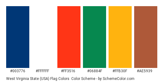 West Virginia State (USA) Flag Colors - Color scheme palette thumbnail - #003776 #ffffff #ff3516 #06884f #ffb30f #ae5939