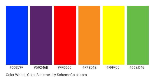 Color Wheel - Color scheme palette thumbnail - #0037FF #59246B #FF0000 #F78D1E #FFFF00 #66BC46
