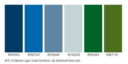 INTL FCStone Logo - Color scheme palette thumbnail - #003962 #0067ac #5c86a0 #c3d2d3 #006426 #4b711d