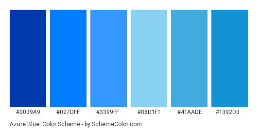 Azure Blue - Color scheme palette thumbnail - #0039a9 #027dff #3399ff #88d1f1 #41aade #1392d3