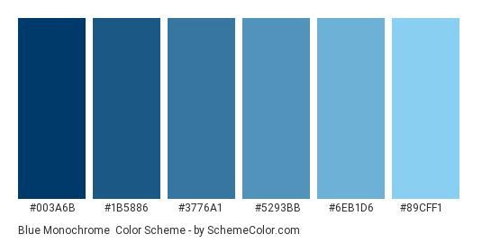 Blue Monochrome - Color scheme palette thumbnail - #003A6B #1B5886 #3776A1 #5293BB #6EB1D6 #89CFF1