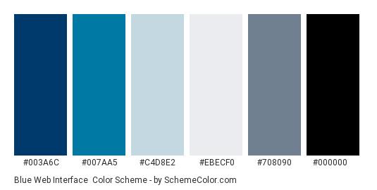 Blue Web Interface - Color scheme palette thumbnail - #003A6C #007AA5 #C4D8E2 #EBECF0 #708090 #000000
