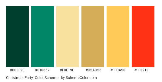 Christmas Party - Color scheme palette thumbnail - #003F2E #018667 #F8E19E #D5AD56 #FFCA58 #FF3213