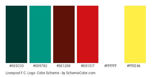Liverpool F.C. Logo - Color scheme palette thumbnail - #003c33 #009782 #5e1208 #d01317 #ffffff #ffee46