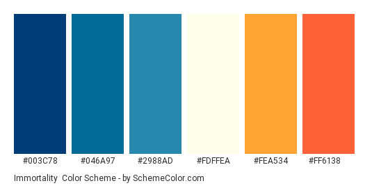 Immortality - Color scheme palette thumbnail - #003c78 #046a97 #2988ad #fdffea #fea534 #ff6138