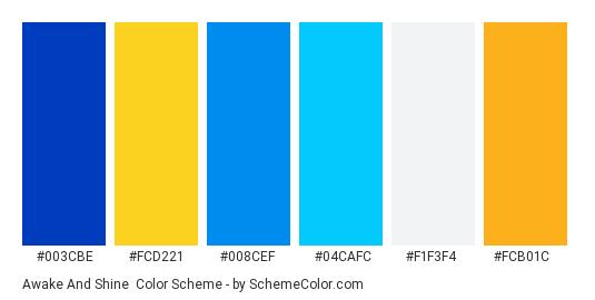 Awake and Shine - Color scheme palette thumbnail - #003cbe #fcd221 #008cef #04cafc #f1f3f4 #fcb01c