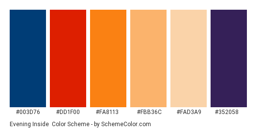 Evening Inside - Color scheme palette thumbnail - #003d76 #dd1f00 #fa8113 #fbb36c #fad3a9 #352058