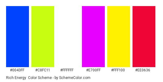 Rich Energy - Color scheme palette thumbnail - #0043ff #c8fc11 #ffffff #e700ff #fff100 #ee0636
