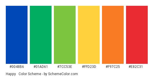 Happy & Colorful - Color scheme palette thumbnail - #0048b6 #01ad61 #7cc53e #ffd23d #f97c25 #e82c31