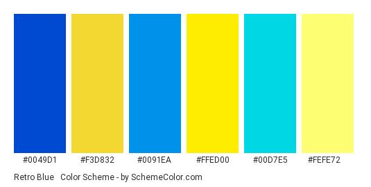 Retro Blue & Yellow - Color scheme palette thumbnail - #0049d1 #f3d832 #0091ea #ffed00 #00d7e5 #fefe72