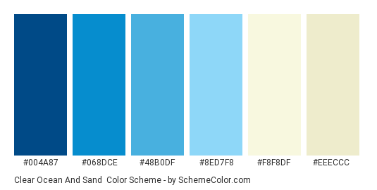 Clear Ocean and Sand - Color scheme palette thumbnail - #004a87 #068dce #48b0df #8ed7f8 #f8f8df #eeeccc