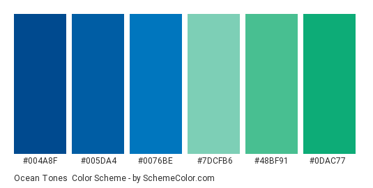 Ocean Tones - Color scheme palette thumbnail - #004a8f #005da4 #0076be #7dcfb6 #48bf91 #0dac77