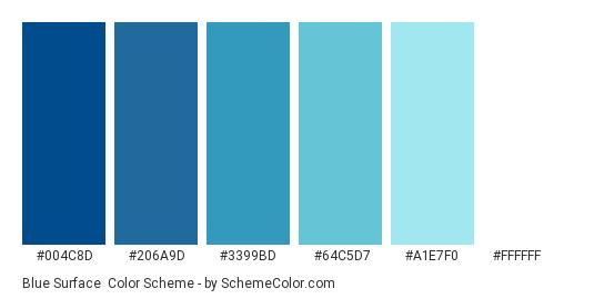 Blue Surface - Color scheme palette thumbnail - #004c8d #206a9d #3399bd #64c5d7 #a1e7f0 #ffffff