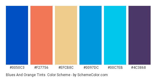 Blues and Orange Tints - Color scheme palette thumbnail - #0050c3 #f27756 #efcb8c #0097dc #00c7eb #4c3868