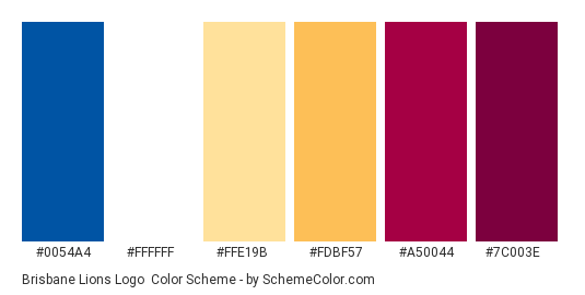 Brisbane Lions Logo - Color scheme palette thumbnail - #0054a4 #ffffff #ffe19b #fdbf57 #a50044 #7c003e