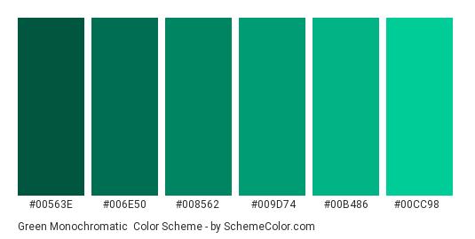 Green Monochromatic - Color scheme palette thumbnail - #00563E #006E50 #008562 #009D74 #00B486 #00CC98