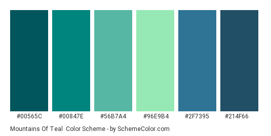 Mountains Of Teal Color Scheme Palette Thumbnail 00565c 00847e 56b7a4