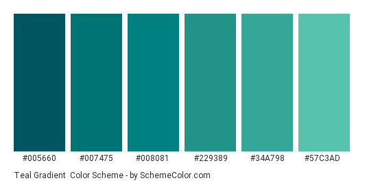 Teal Gradient - Color scheme palette thumbnail - #005660 #007475 #008081 #229389 #34a798 #57c3ad