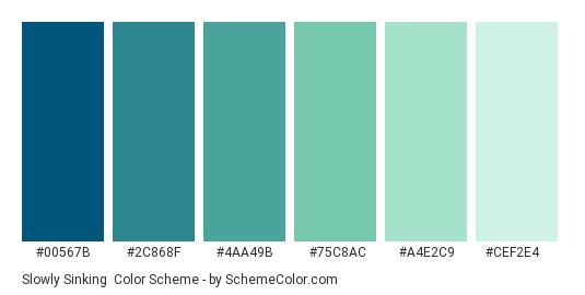 Slowly Sinking - Color scheme palette thumbnail - #00567b #2c868f #4aa49b #75c8ac #a4e2c9 #cef2e4