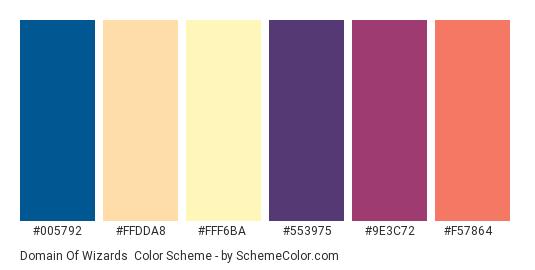Domain of Wizards - Color scheme palette thumbnail - #005792 #FFDDA8 #FFF6BA #553975 #9e3c72 #f57864