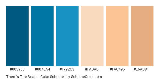 There's the Beach - Color scheme palette thumbnail - #005980 #0076a4 #1792c3 #fadabf #fac495 #e6ad81
