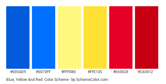 Blue, Yellow and Red - Color scheme palette thumbnail - #005AD9 #0070FF #FFF880 #FFE135 #E60026 #C60012