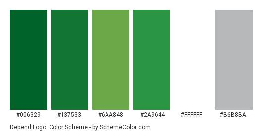 Depend Logo - Color scheme palette thumbnail - #006329 #137533 #6aa848 #2a9644 #ffffff #b6b8ba
