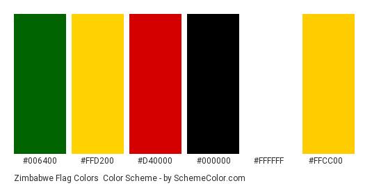 Zimbabwe Flag Colors - Color scheme palette thumbnail - #006400 #ffd200 #d40000 #000000 #ffffff #ffcc00