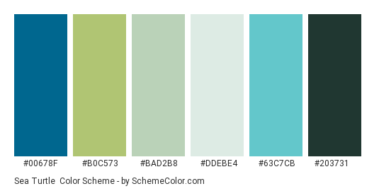 Sea Turtle - Color scheme palette thumbnail - #00678f #b0c573 #bad2b8 #ddebe4 #63c7cb #203731