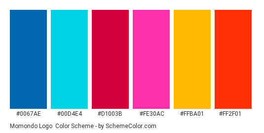 Momondo Logo - Color scheme palette thumbnail - #0067ae #00d4e4 #d1003b #fe30ac #ffba01 #ff2f01