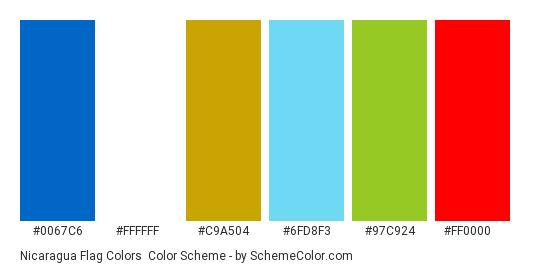 Nicaragua Flag Colors - Color scheme palette thumbnail - #0067c6 #ffffff #c9a504 #6fd8f3 #97c924 #ff0000