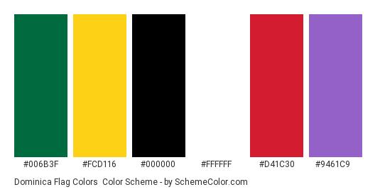 Dominica Flag Colors - Color scheme palette thumbnail - #006b3f #fcd116 #000000 #ffffff #d41c30 #9461c9