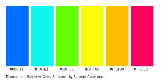 Fluorescent Rainbow - Color scheme palette thumbnail - #006fff #13f4ef #68ff00 #faff00 #ffbf00 #ff005c