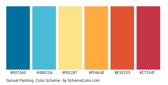 Sunset Painting - Color scheme palette thumbnail - #0070a0 #48bcd6 #fee287 #ffab40 #e35333 #c73347
